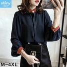 【V2502】shiny藍格子-溫柔氣質.拼接色燈籠袖襯衫上衣