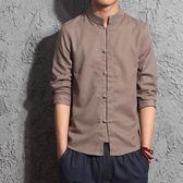 中國風男裝短袖民國中山裝亞麻青男士襯衣 nm1567 【野之旅】