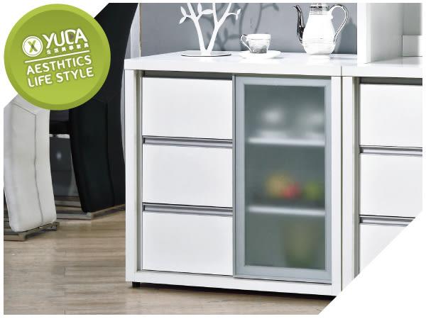 【YUDA】羽田 木心板 2.7尺 純白色 波麗漆 強化玻璃 餐櫃/收納櫃/置物櫃 J8S 215-1