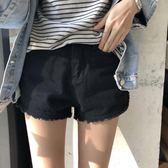 韓版大碼毛邊闊腿熱褲女夏季新款高腰寬松顯瘦chic牛仔短褲潮【韓衣舍】
