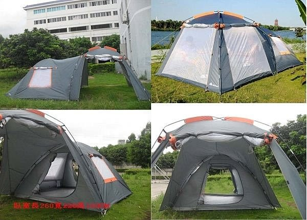 新款雙層帳篷戶外野營4-6人大帳篷一室一廳【藍星居家】