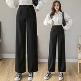 褲子實拍西裝闊腿褲女寬鬆高腰垂感黑色百搭學生休閒褲.T138B.850胖胖唯依