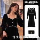赫本風新款法式黑色絲絨洋裝子名媛顯瘦202121年春秋女裝高端春 蘿莉新品