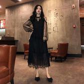 洋裝 法式復古裙女2019新款春季黑色露肩蕾絲長袖晚宴聚會小禮服連身裙 全館免運 維多