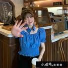 2021夏季新款韓版泡泡袖上衣女褶皺小眾設計感襯衣短款短袖襯【全館免運】