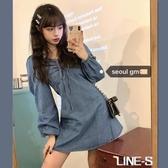 SEOUL韓風chic復古甜美洋氣長袖燈籠袖系繩寬鬆短款牛仔洋裝女