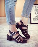 夏女涼鞋透明高跟水晶鞋果凍鞋塑料涼鞋包頭粗跟塑膠雨鞋羅馬涼鞋 薔薇時尚