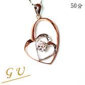 【GU鑽石】A87生日禮物銀飾品銀項鍊鋯石項鍊情人節禮物 Apromiz 50分鑽石雙心玫瑰金造型項鍊 女