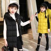 女童羽絨棉馬甲加厚外穿中大童秋冬季坎肩兒童背心春秋中長款外套