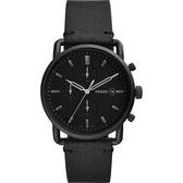 FOSSIL 潮流動感時尚酷黑計時錶-黑/42mm FS5504