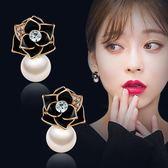 黑五好物節黑色玫瑰花朵仿珍珠耳釘女氣質簡約耳飾品韓國潮人百搭大氣耳環夏沫居家