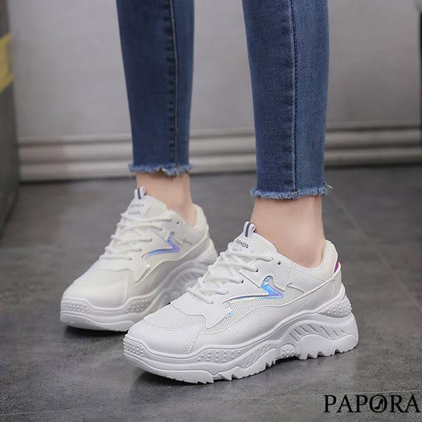 PAPORA運動風綁帶休閒鞋KP1白藍/米白(偏小)