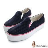 Hush Puppies 菱格鋪棉咖啡紗厚底懶人鞋-深藍