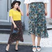 中大尺碼~雪紡不規則裙擺長裙(XL~3XL)