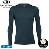 【Icebreaker 男 Tech 圓領長袖上衣 BF260《海藻綠》】104371/保暖羊毛衫/機能服/內搭