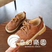 新款英倫風系帶皮鞋童豆豆鞋鞋休閑鞋兒童鞋子-奇幻樂園