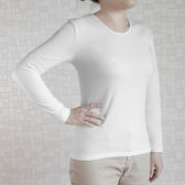 細織彈力 女款 圓領刷毛 保暖衣 內衣著 內搭-白色【T001-01】Nacaco
