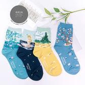 現貨✶正韓直送【K0207】韓國襪子名畫系列(2)中筒襪 韓妞必備 百搭基本款 素色襪 免運 阿華有事嗎
