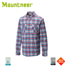 【Mountneer 山林 男 彈性抗UV格子長袖襯衫《紅》】31B05/防曬長袖/夏季襯衫/抗UV/格紋襯衫