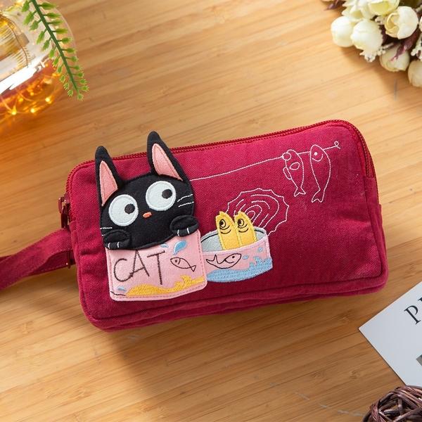 Kiro貓‧小黑貓 三層 小物收納 雜物包/手機包/手拿包【221802】