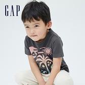 Gap男幼童 布萊納系列 海灘風印花純棉短袖T恤 701446-藍灰色