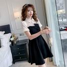 VK精品服飾 韓系氣質黑白撞色修身燈籠袖淑女短袖洋裝