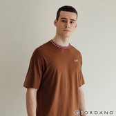 【GIORDANO】男裝素色刺繡圓領T恤 - 83 棕