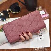 韓版女士手拿錢包女長款拉鍊多功能包學生個性菱格腕帶包手機花間公主