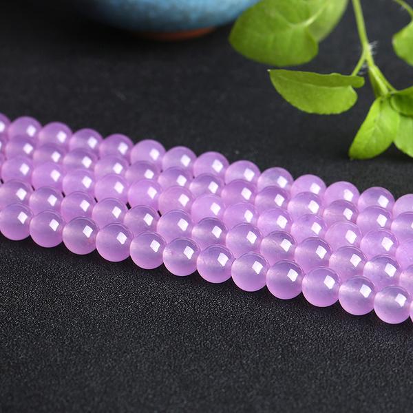 [超豐國際]石英巖玉水晶手鏈項鏈半成品淺紫玉髓散珠DIY飾品1入