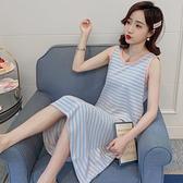 睡衣 睡裙女夏季純棉背心可愛長款孕婦公主風過膝寬鬆薄款長裙睡衣條紋