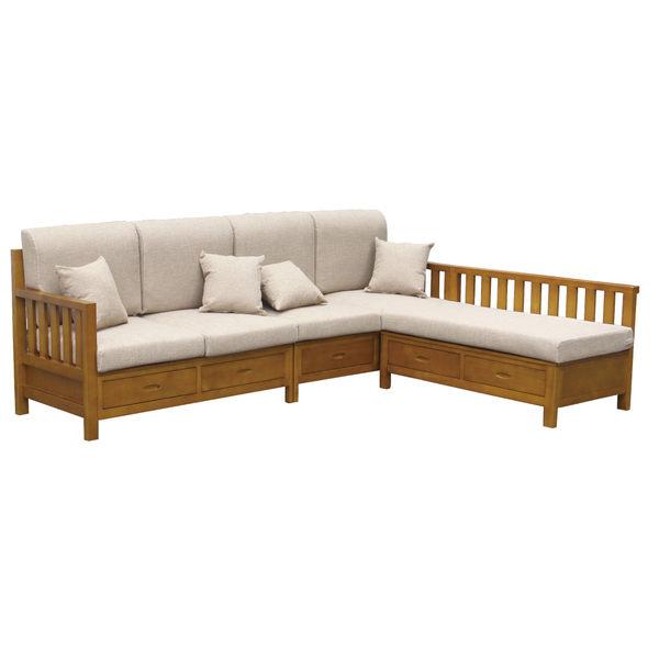 【采桔家居】瑪哈蒂 時尚亞麻布實木L型收納沙發椅(四人座+椅凳+收納抽屜)