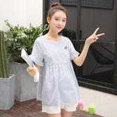 孕婦裝2018夏裝孕婦上衣韓?條紋純棉短袖T恤