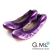 G.Ms. 旅行女孩II-金屬羊皮鬆緊口可攜式軟Q娃娃鞋(附鞋袋)-深紫