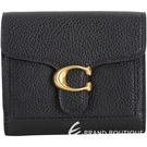 COACH TABBY C釦荔紋牛皮零錢袋短夾(黑色) 2010013-01