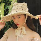 草編鏤空蕾絲花邊綁帶春夏遮陽帽女士海邊沙灘帽防曬草帽  新年下殺