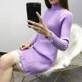 針織打底衫女中長款韓版純色顯瘦長袖上衣半高領蕾絲針織洋裝潮  瑪奇哈朵