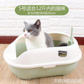 貓砂盆半封閉式大號貓廁所小號貓沙盆貓屎盆貓咪清潔用品送貓砂鏟  HM 居家物語