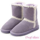 雪靴 D+AF 好感滿分.毛線針織2way真皮中筒雪靴*紫