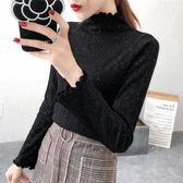 2019秋裝新款針織衫韓版荷葉領上衣套頭薄款毛衣女修身長袖打底衫