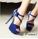 [Kwoomi]寶藍色側邊蝴蝶結水鑽吊飾魚口細跟碎鑽細跟 涼鞋 高跟鞋 晚宴鞋 新娘鞋  A31
