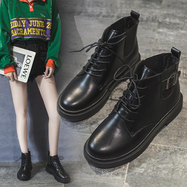 馬丁靴女2019夏季英倫風薄款透氣帥氣機車酷朋克黑色短靴