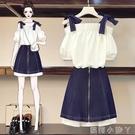 大碼女裝2021年夏裝新款胖妹妹雪紡一字肩上衣顯瘦洋裝兩件套裝 蘿莉新品