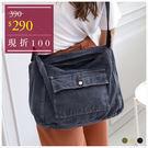 側背包-率性休閒牛仔帆布側背包-共3色-A15152375-天藍小舖