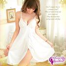 女性內睡衣 純白蕾絲柔緞側開襟睡衣 NA07020143-1白-優品生活館