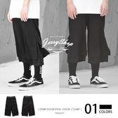 短褲 JerryShop【XX03040】黯黑潮流兩件式七分寬褲 運動 歐美 棉質