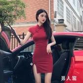 夏季2020新款短袖收腰顯瘦復古改良式旗袍收腰不規則開叉連身裙潮TZ434【男人範】
