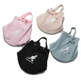 KANGOL 黑 粉 藍 裸色 大LOGO 水桶包 圓筒袋 滑面材質 英國 (布魯克林) 6025301-