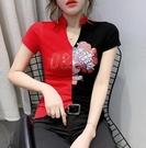 修身顯瘦性感小衫春夏原創設計中國風女上衣拼色短袖t恤480-B紅粉佳人