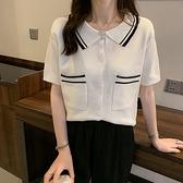 針織上衣覓定設計師款翻領polo衫女短袖可愛寬松T恤冰絲針織衫夏薄款1F143快時尚