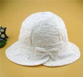 黑五好物節 兒童帽子新款春夏女童漁夫帽嬰兒粉色薄款繡花寶寶太陽盆帽 小巨蛋之家